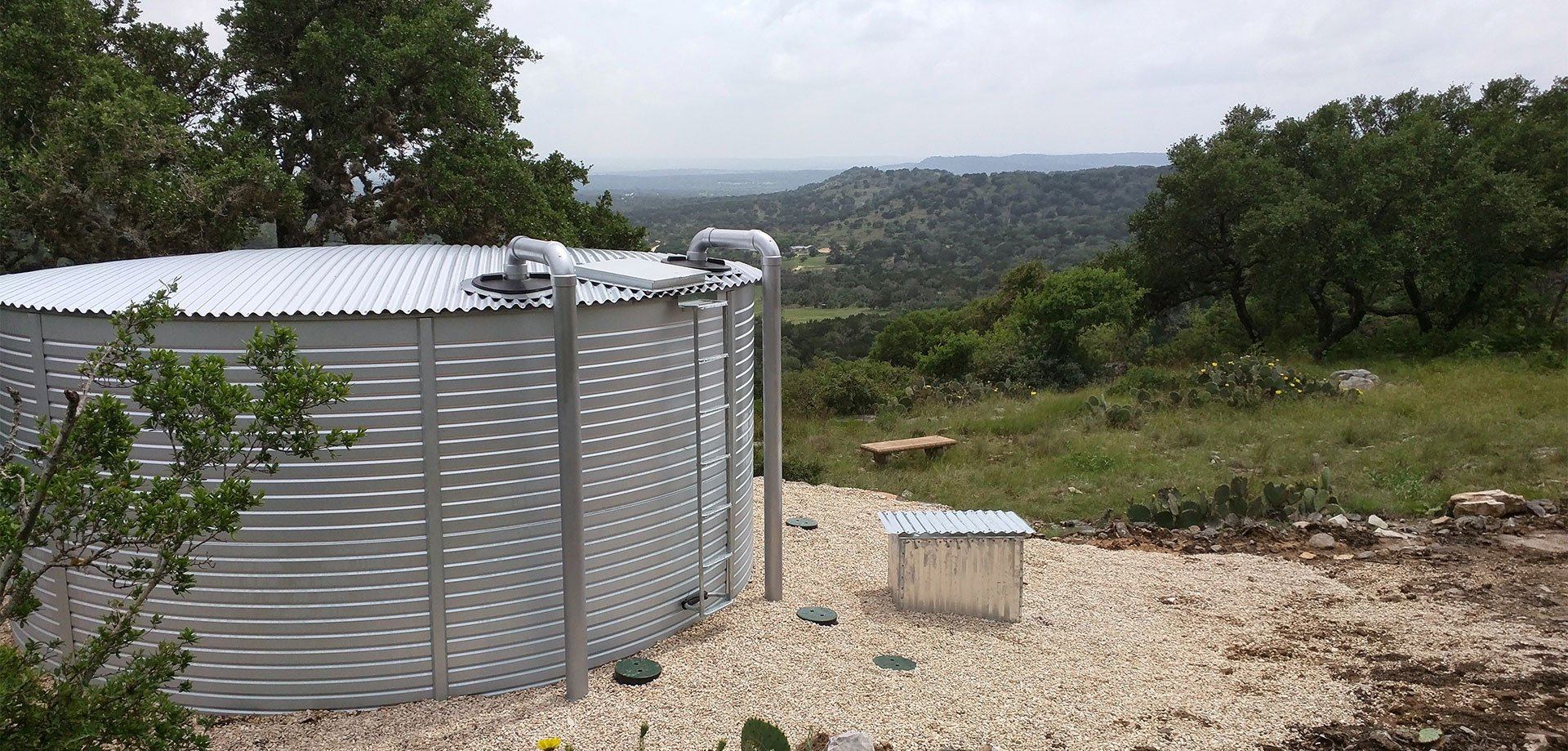 Rainwater Systems Inc installed Pioneer Water Tanks Texas Hill Country