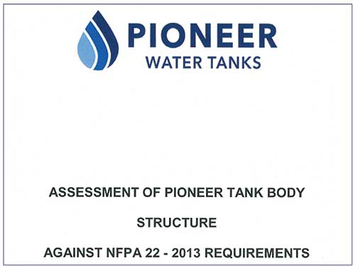 Pioneer Water Tanks Assessment to NFPA 22