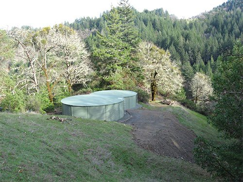Two Pioneer Water Tanks for a rainwater system in Humboldt