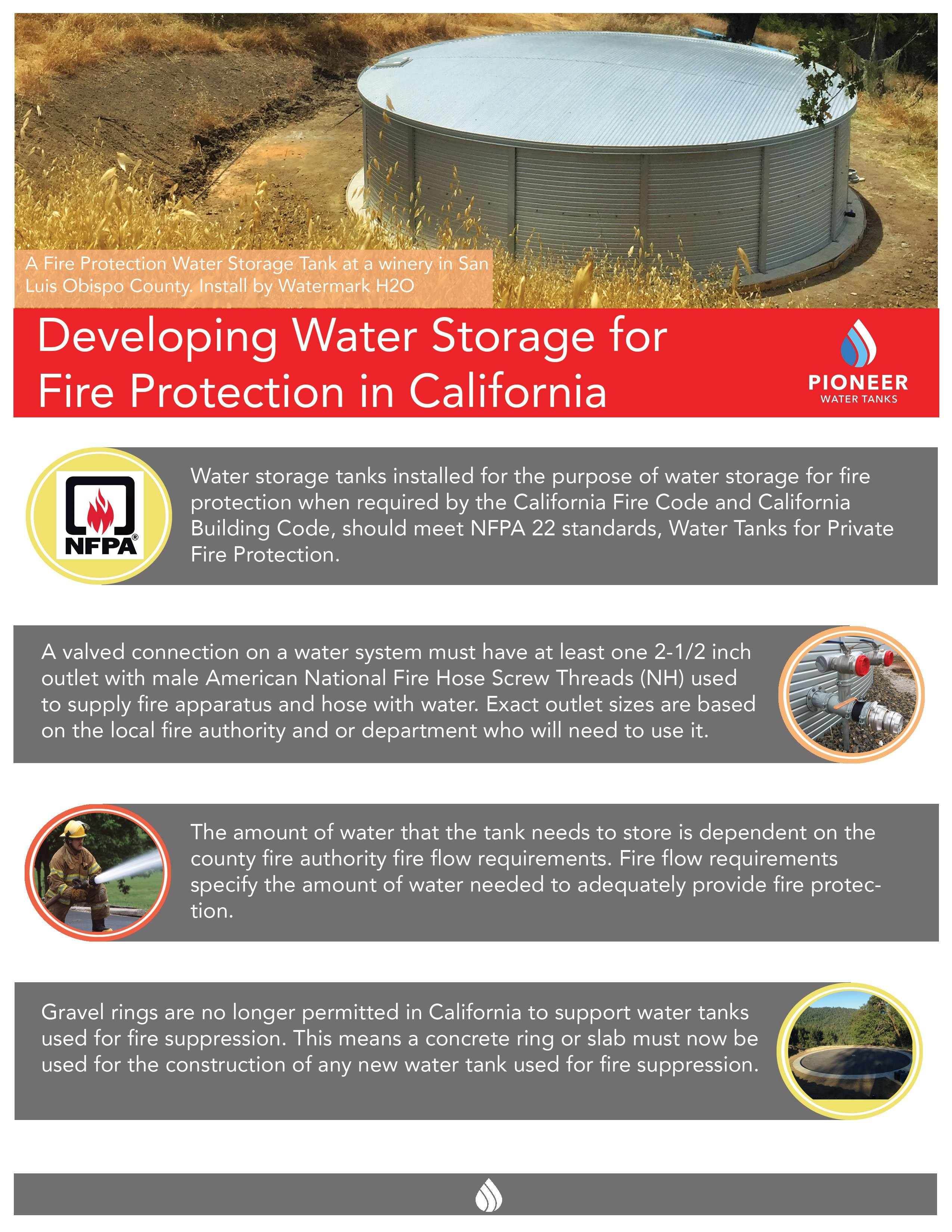 California firefighting water storage tanks for sale