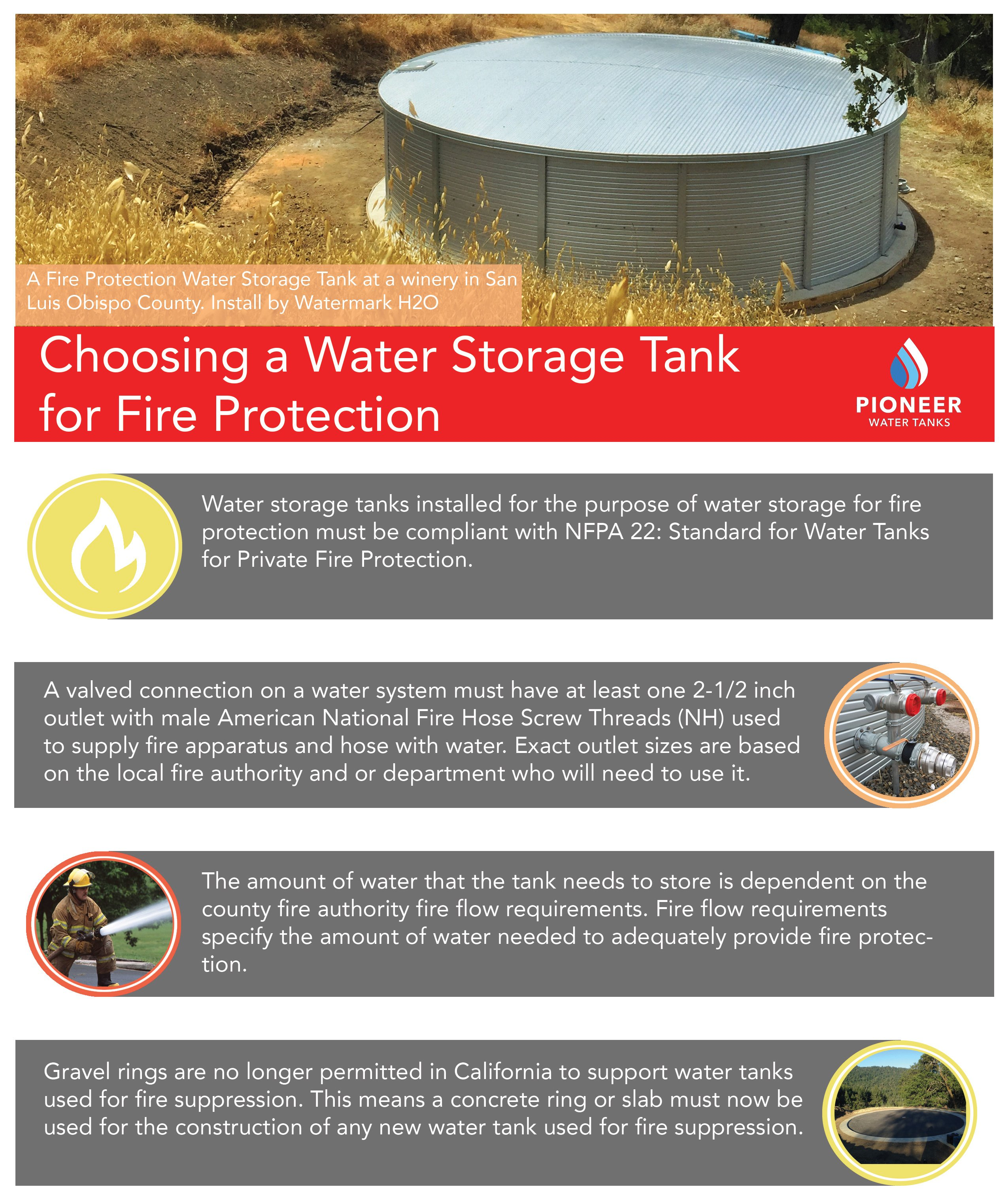 California fire protection water tanks with Pioneer