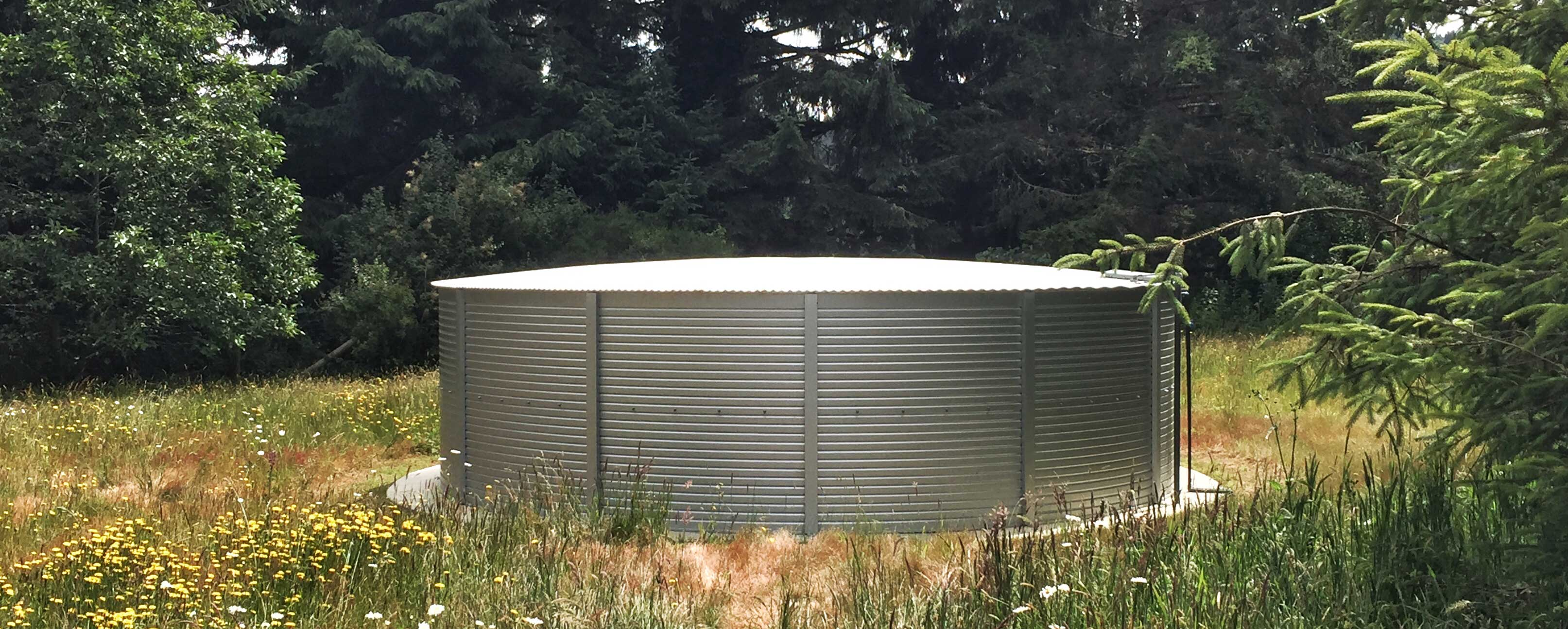 30,000 gallon water tanks in California