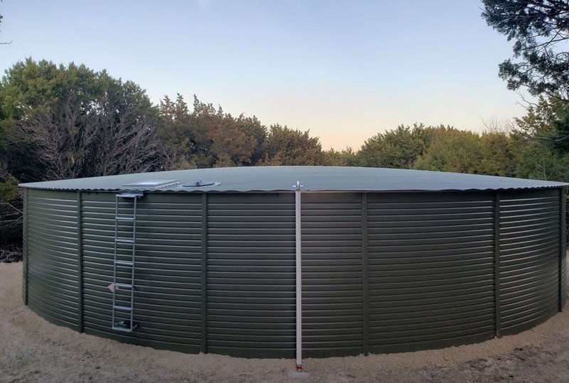Rainwater Equipment provided a 65,000 gallon Pioneer Water Tank for rainwater storage