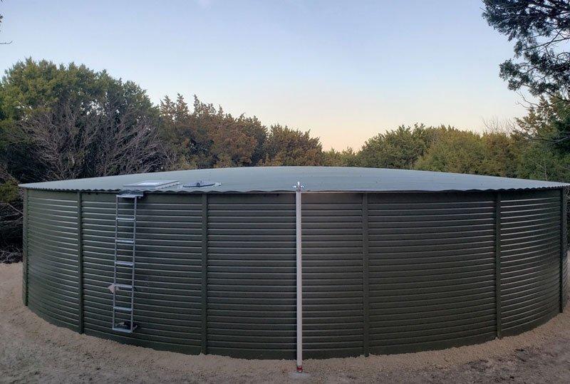 Rainwater Equipment provided a 65,000 gallon Pioneer Water Tank for rainwater storage