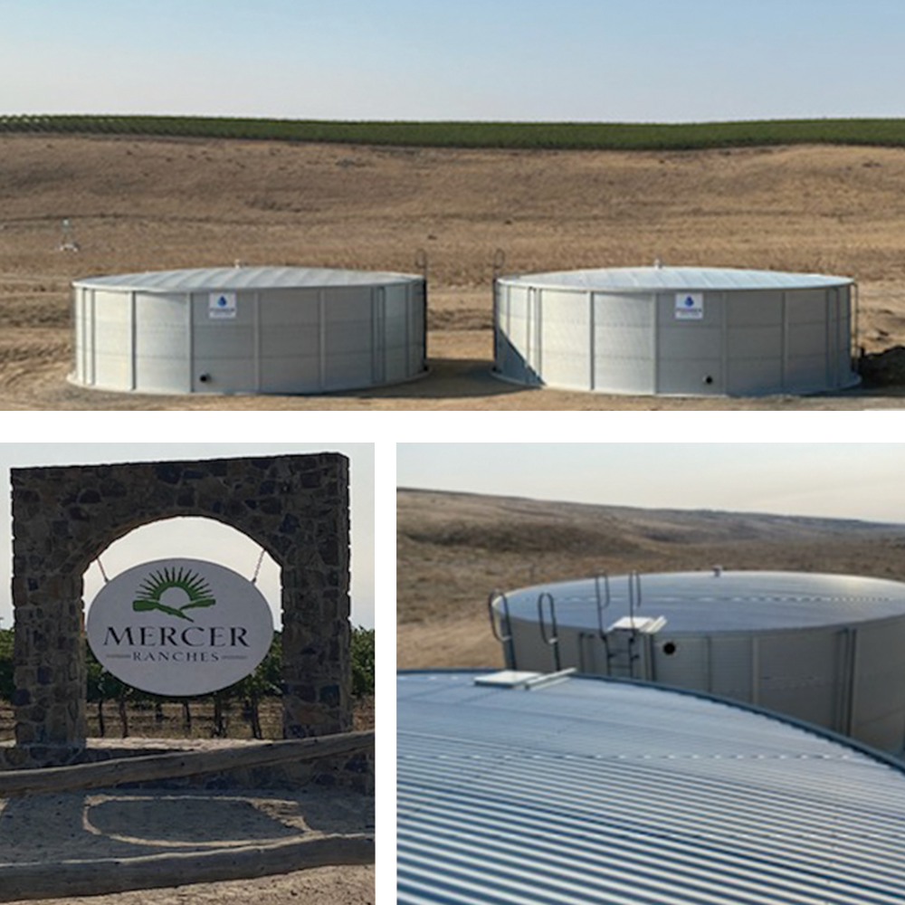 Large Capacity Water Storage Tanks for Washington Winery