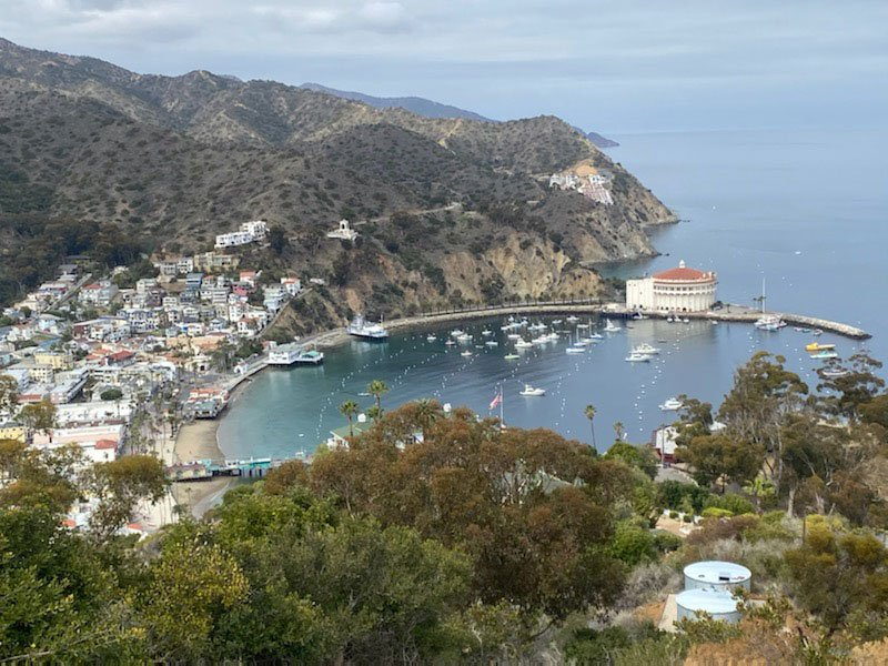 Pioneer Water Tanks overlook Avalon Harbor in Catalina California
